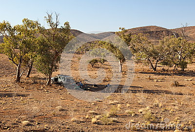 People are resting in shade of a tree. Flinders Ranges. South Australia. Editorial Stock Photo
