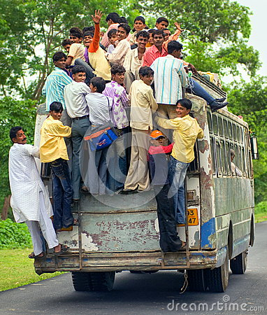Free People Riding An Overloaded Bus, India Stock Photography - 55285622