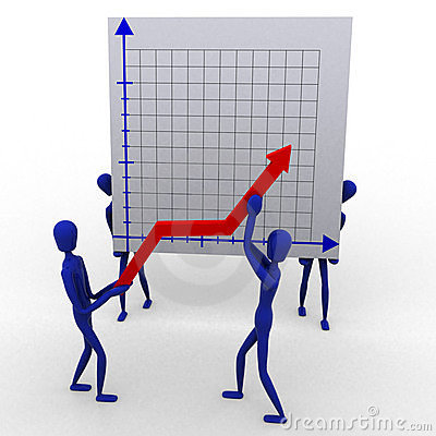 People rising a graph
