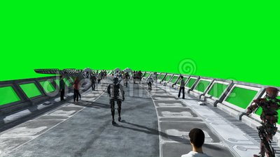 People and robots. Sci fi tonnel. Futuristic traffic. Concept of future. Green screen footage. Realistic 4K animation. stock footage