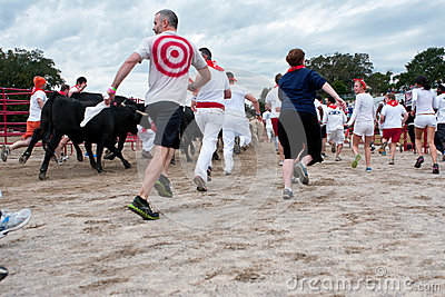 People Run With The Bulls At Unique Georgia Event Editorial Image