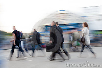 People rushing to work
