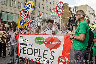 People s Assembly protesters, London Editorial Photography