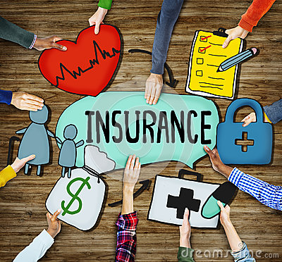 People s Hands Holding Insurance Text and Symbols