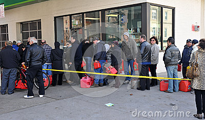 People says in line for gas Editorial Stock Photo
