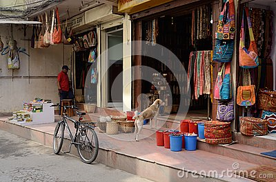 People selling goods at their souvenir shops in Thamel, Kathmandu, Nepal Editorial Photography