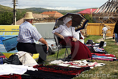 People selling traditional clothing Editorial Stock Photo
