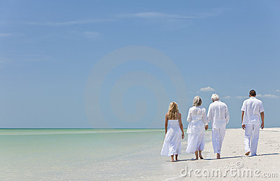 People Seniors Family Couples Generations on Beach