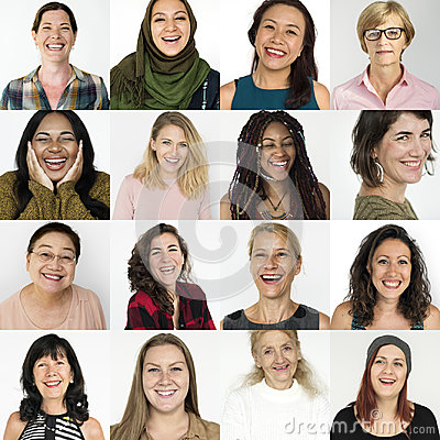 Free People Set Of Diversity Women With Smiling Face Expression Studi Stock Photography - 96005872
