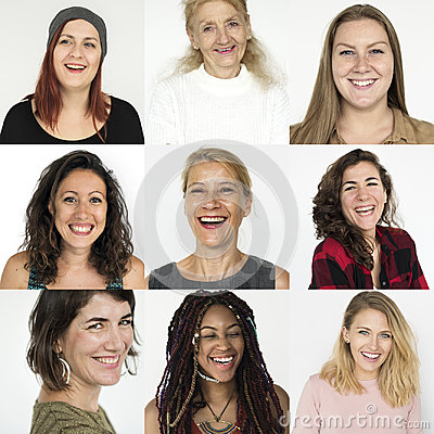 Free People Set Of Diversity Women With Smiling Face Expression Studi Royalty Free Stock Photos - 97131638