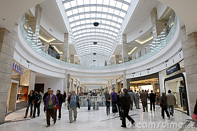 People shopping in busy mall Editorial Stock Photo