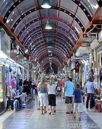 People shopping in the Grand Bazaar, marmaris Editorial Image