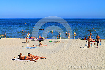 People on the shore of the Baltic Sea in the Kulikovo Editorial Image