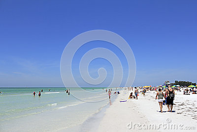 People at Siesta Beach, Florida Editorial Photo