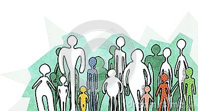 People silhouettes on white background