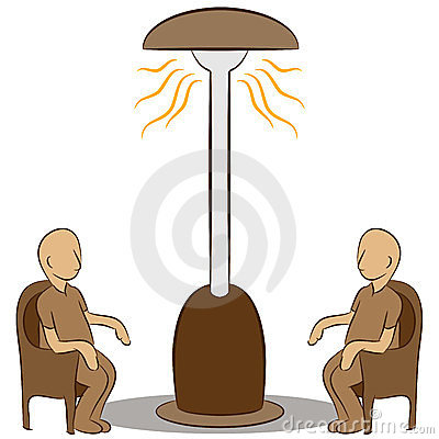people sitting under a lamp heater royalty free stock. Black Bedroom Furniture Sets. Home Design Ideas