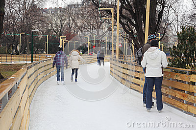 People skate on the rink Editorial Image