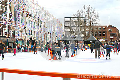 People skate on the rink Editorial Stock Photo
