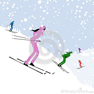People skiing, winter mountain landscape for your