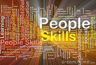 People skills background concept glowing