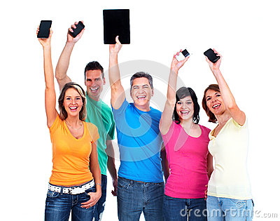 People with smartphones