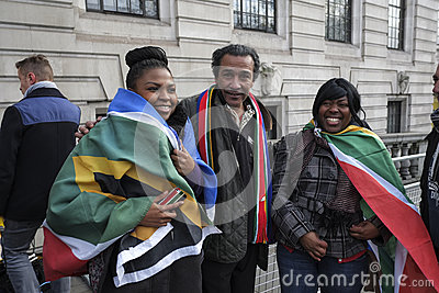 People at South Africa House for Mandela memorial Editorial Stock Photo