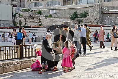 People on the square near the   Western Wall  in Jerusalem Editorial Photography