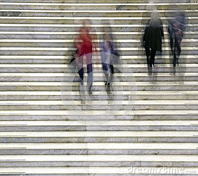People in staircase