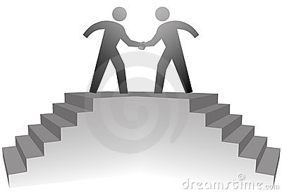 People on stairs meeting in handshake on deal