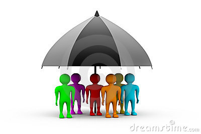 People standing with a black umbrella