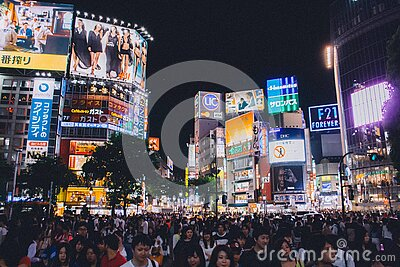 People Standing Near Buildings Under Night Sky Free Public Domain Cc0 Image