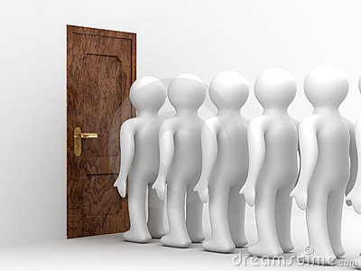 People standing one after another before door