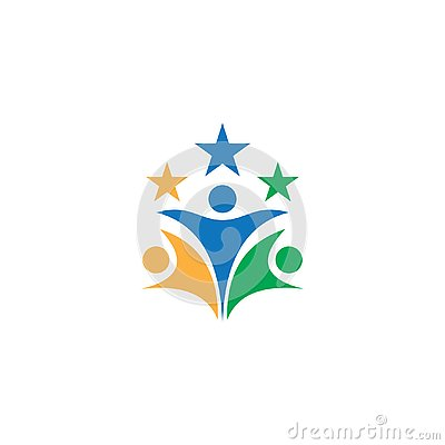 People star teamwork business logo Vector Illustration