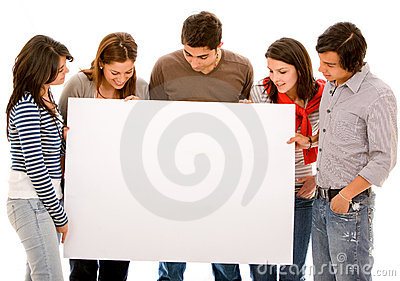 People staring at a banner ad