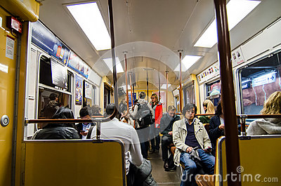 People in Stockholm subway Editorial Photography