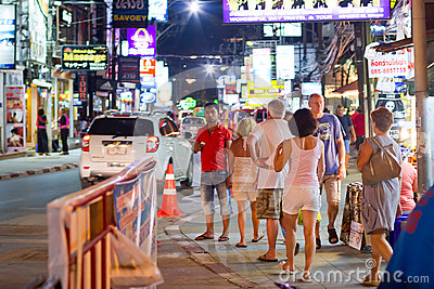 People on the street of Patong at night Editorial Stock Image