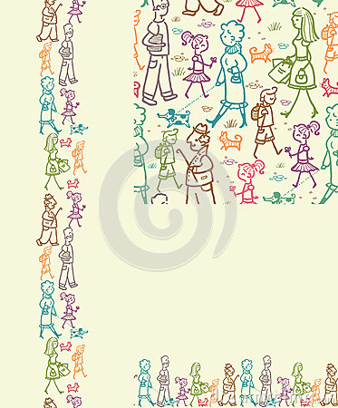 People on the street seamless pattern background
