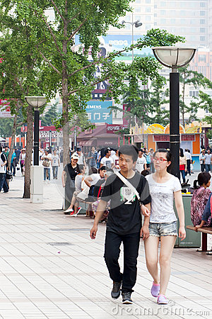 People on streets of Beijing Editorial Stock Photo