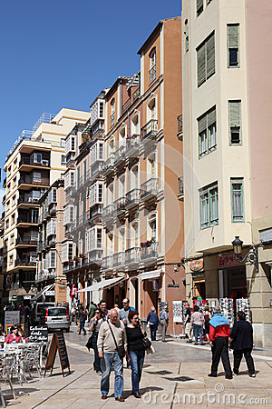 Street in Malaga, Andalusia Spain Editorial Image