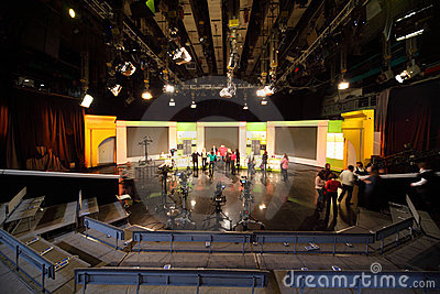 People in studio of Ostankino television station Editorial Photo