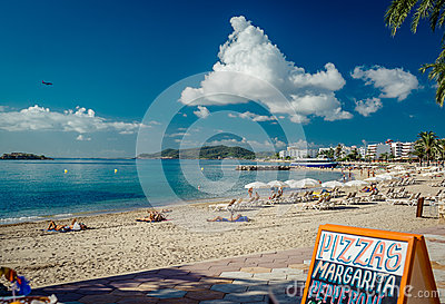 People sunbathing on a Ibiza Editorial Photography