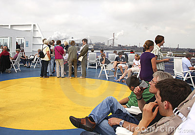 People on sundeck of ferry Editorial Stock Image