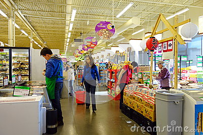People at the Supermarket Editorial Image