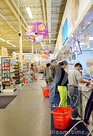 People at Supermarket Editorial Stock Photo