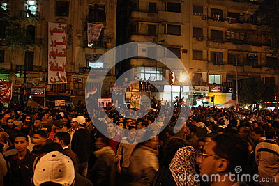 People In tahrir square during Egyptian revolution Editorial Stock Image