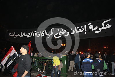 People In tahrir square during Egyptian revolution Editorial Stock Photo