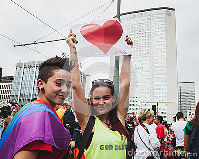 People taking part in Milano Pride 2014, Italy Editorial Photography