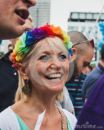 People taking part in Milano Pride 2014, Italy Editorial Stock Image