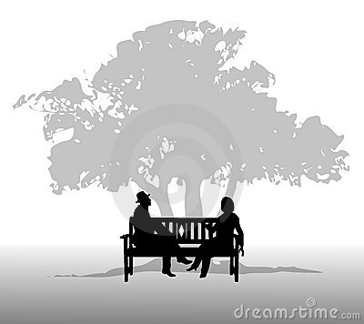 People Talking on a Bench