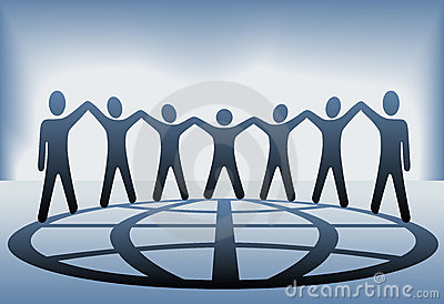 People Team Hold Up Hands Globe